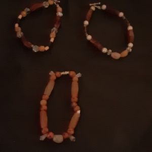 3 bracelets or anklet ranging in size from 6-9 in